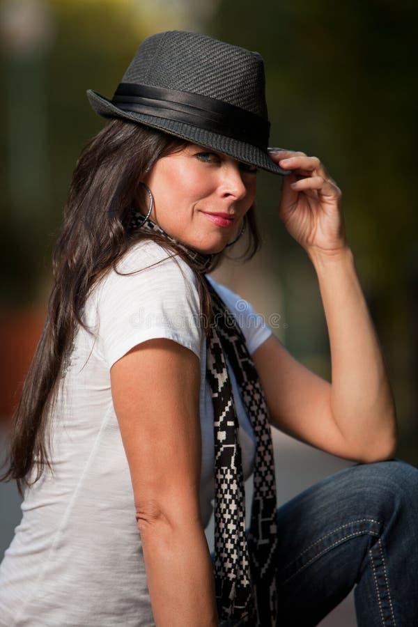 attractive brunette caucasian forties woman στοκ εικόνα