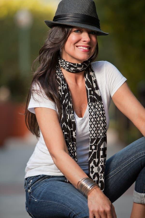 attractive brunette caucasian forties woman στοκ εικόνες