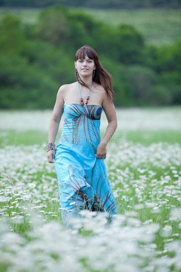 Attractive brunette in chamomile field royalty free stock image