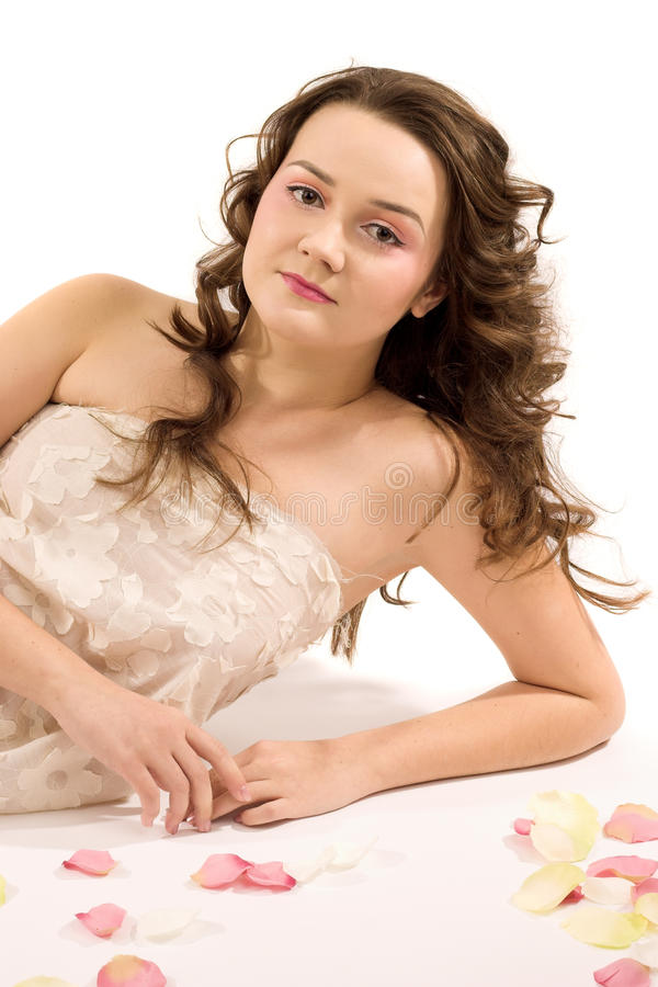 Attractive brunette girl stock image