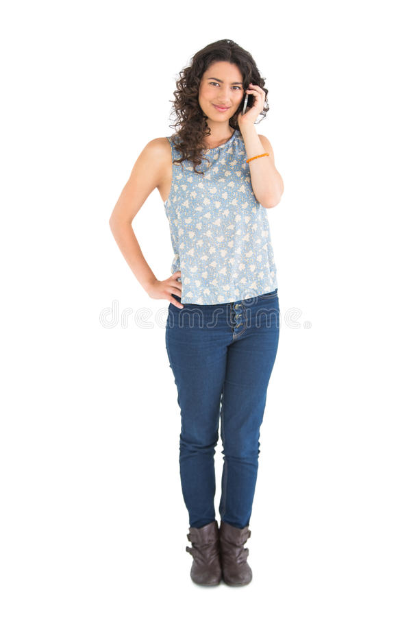 Download Attractive Brunette Having Phone Call Stock Photo - Image: 32969348