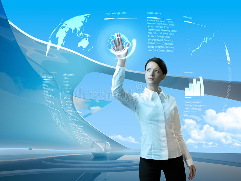 Attractive brunette interface futuristic interior. Outstanding business people in interiors / interfaces series