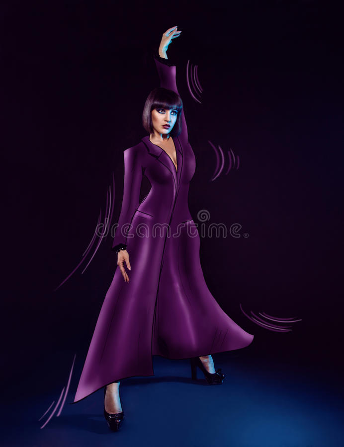 Download Attractive Brunette In Painted Raincoat Stock Illustration - Illustration of color, beauty: 32831544