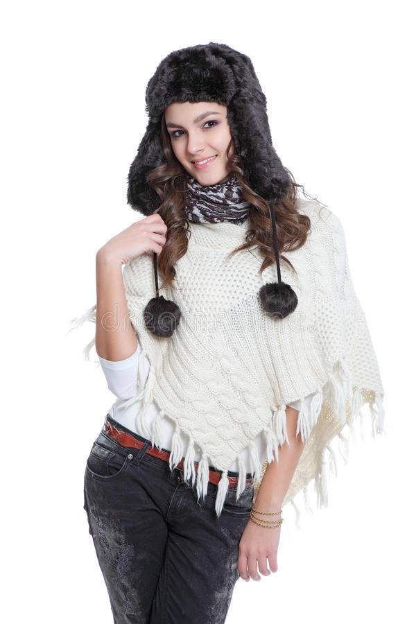 Download Attractive Brunette Posing With Fur Hat Stock Image - Image: 22420699