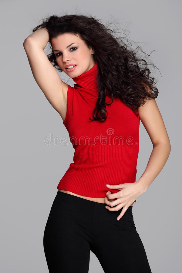 Download Attractive brunette in red stock photo. Image of look - 23634498