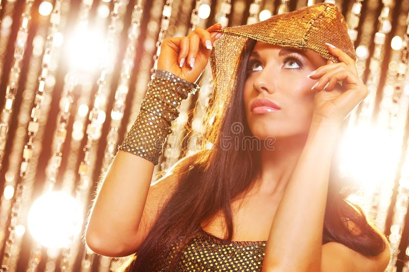 Attractive brunette woman in the club royalty free stock images