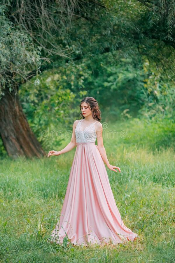attractive brunette woman enjoying nature in delicate elegant pink silk dress stock images