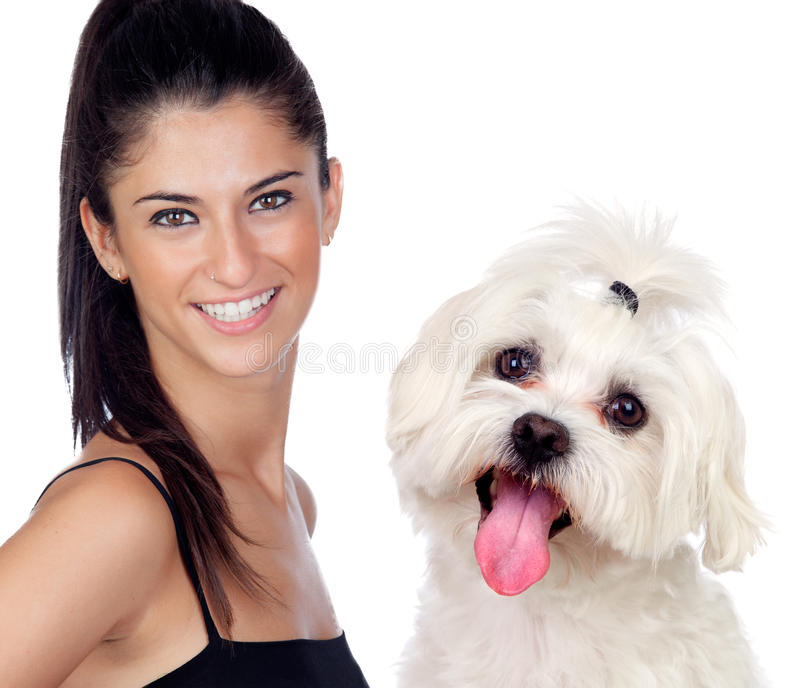 Attractive brunette woman with her little dog royalty free stock photos