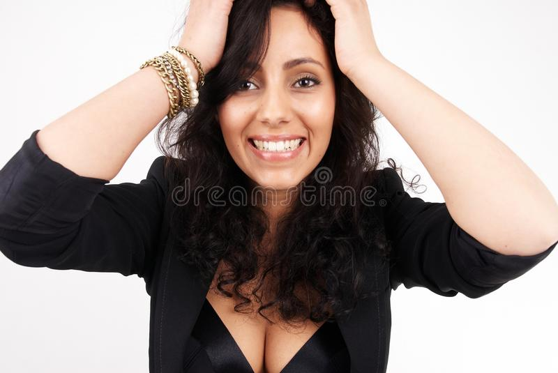 Attractive brunette woman portrait stock photos