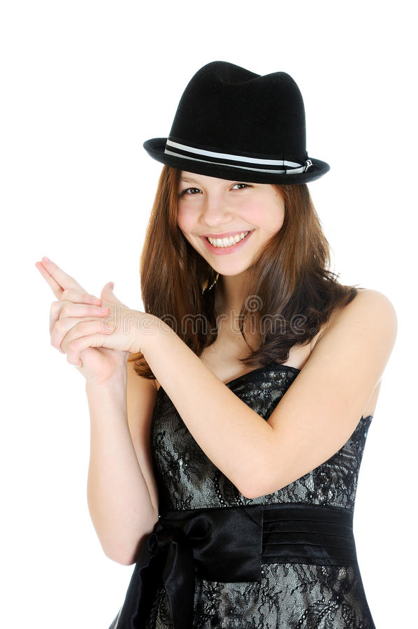 Download Attractive Brunette Young Teenage Girl With Hand In Shape Of A Gun Stock Image - Image: 28596047