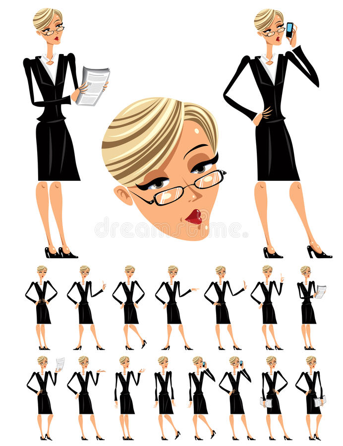 Attractive business woman illustrations set. vector illustration