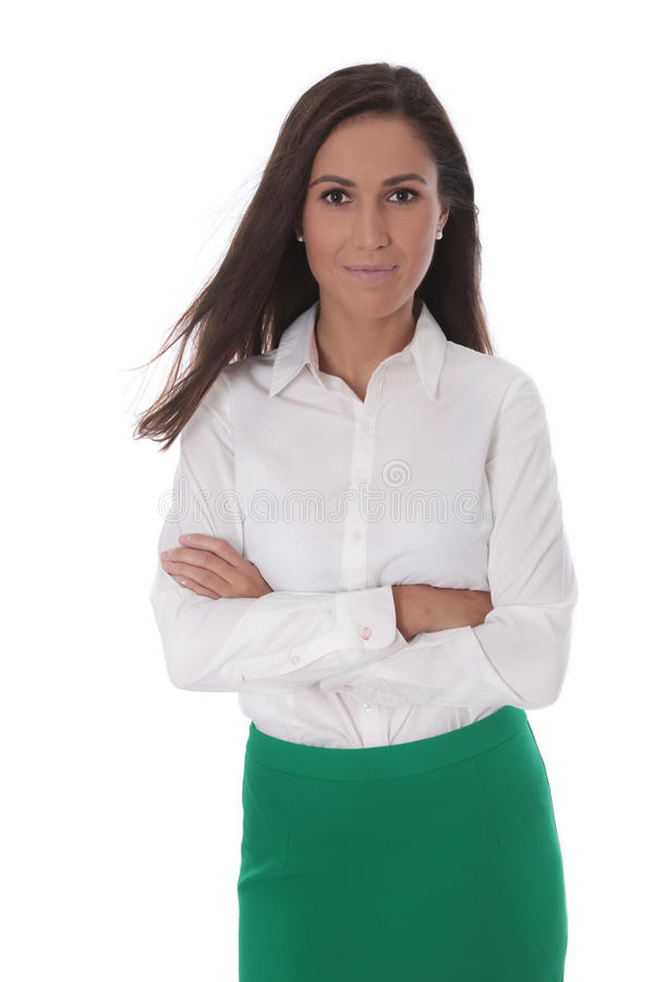 Attractive business woman isolated over white wearing bl stock photography