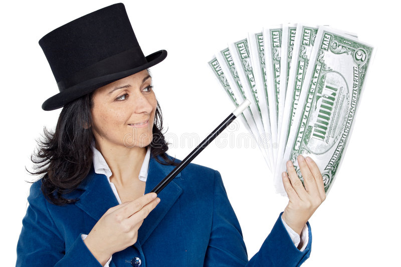 Download Attractive Business Woman With A Magic Wand And Hat Making Appea Stock Image - Image: 1940757
