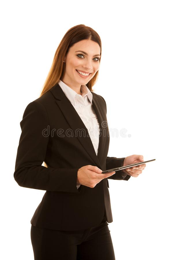 Attractive business woman showing thumb up as a gesture for success isolated over white background royalty free stock photo