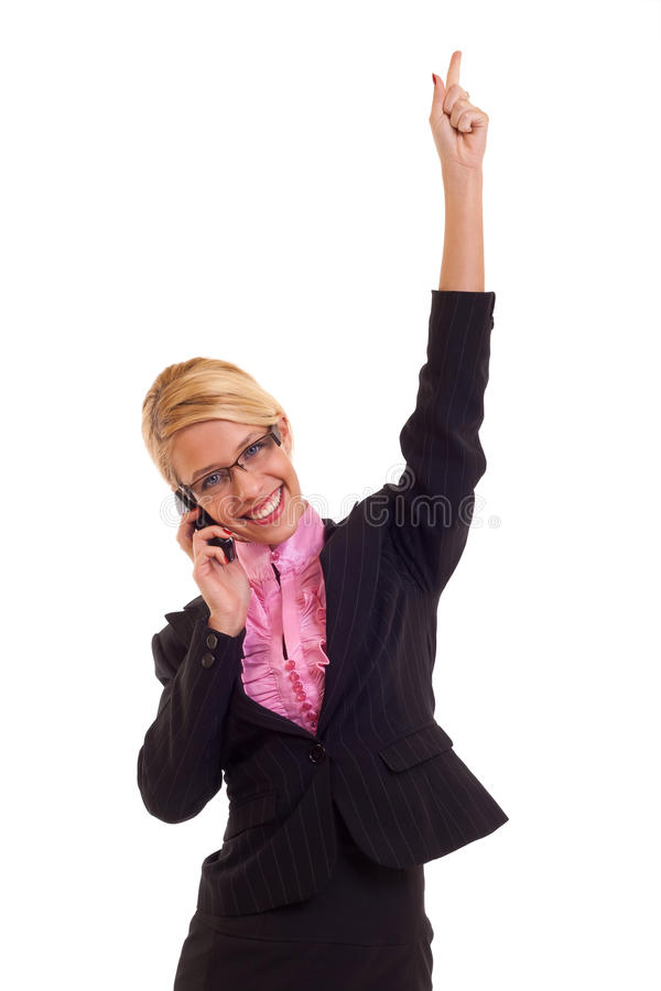Attractive business woman speaking on the phone stock photography