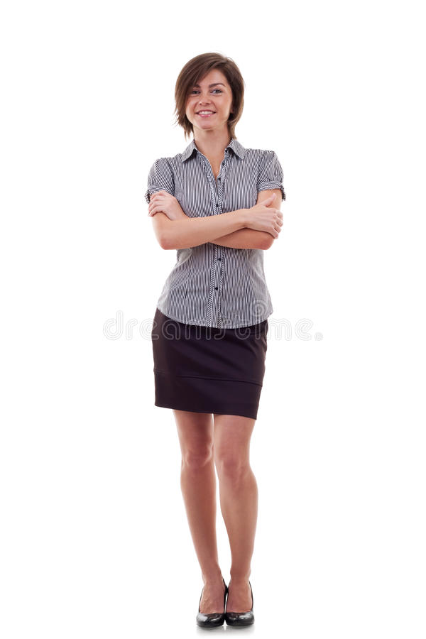 Attractive business woman standing stock photo