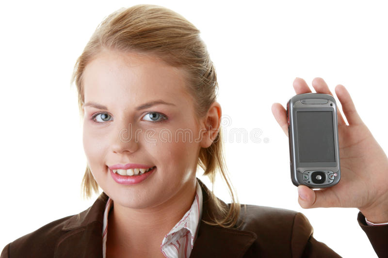 Download Attractive Business Woman Using A Pda Stock Image - Image of device, handheld: 10291459