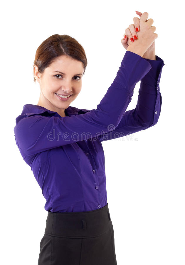 Attractive business woman winning royalty free stock photo
