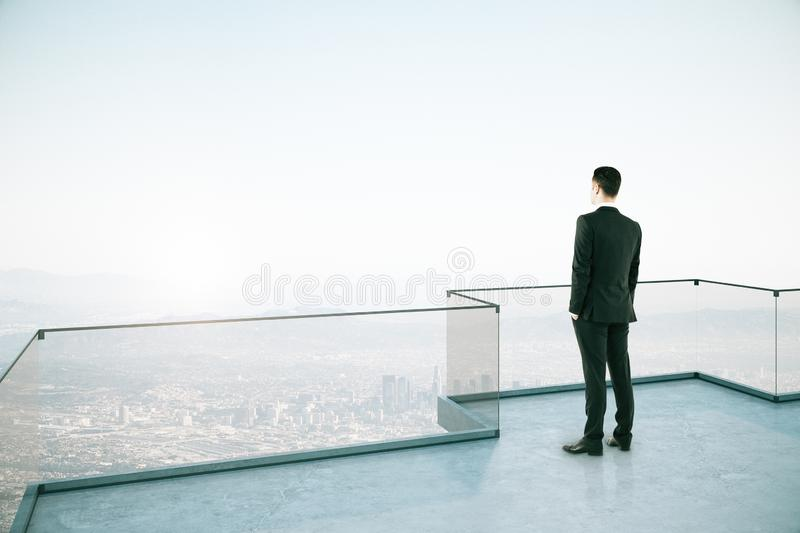 Attractive businessman on rooftop stock image