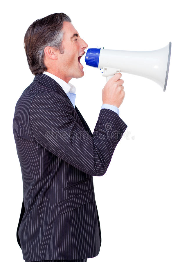 Attractive Businessman rowing through a megaphone. Isolated on a white background stock photos