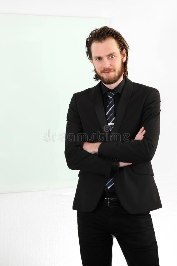 Attractive businessman in suit and tie stock image