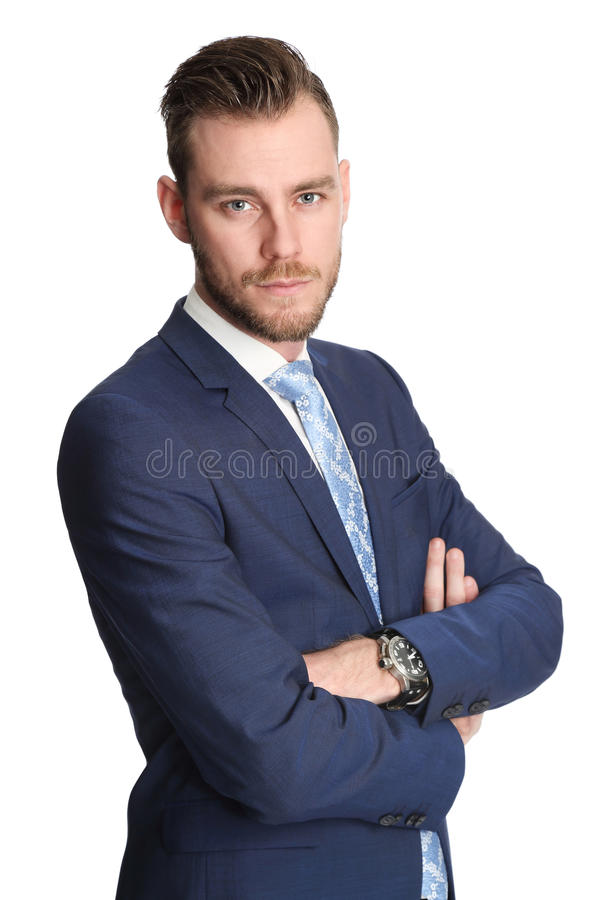 Attractive businessman in suit stock images