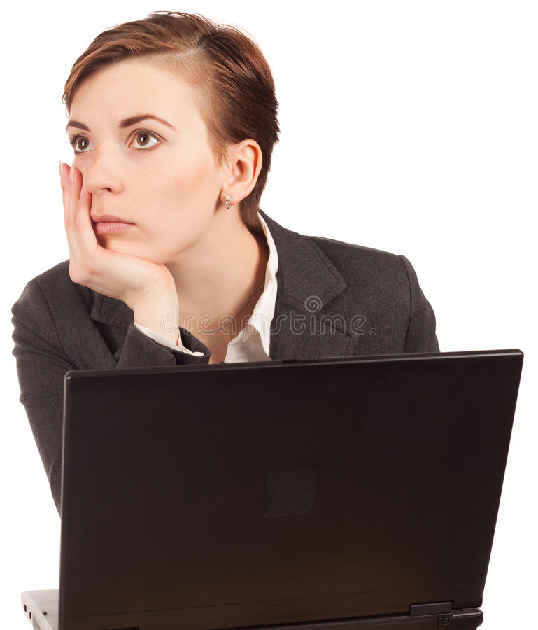 Attractive businesswoman with computer stock photos