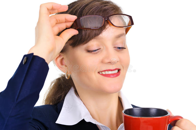 Attractive businesswoman enjoying coffee royalty free stock photography