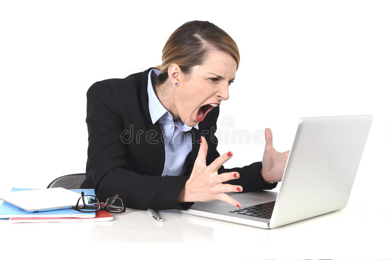 Attractive businesswoman frustrated expression at office working. Young attractive businesswoman frustrated and desperate expression at office working on royalty free stock image