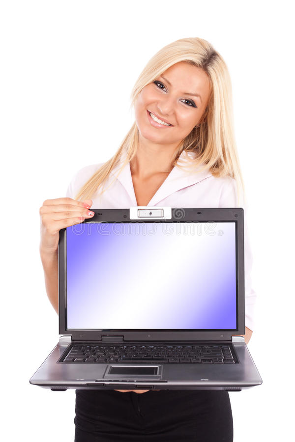 Download Attractive Businesswoman Holding Laptop Stock Image - Image: 20825211