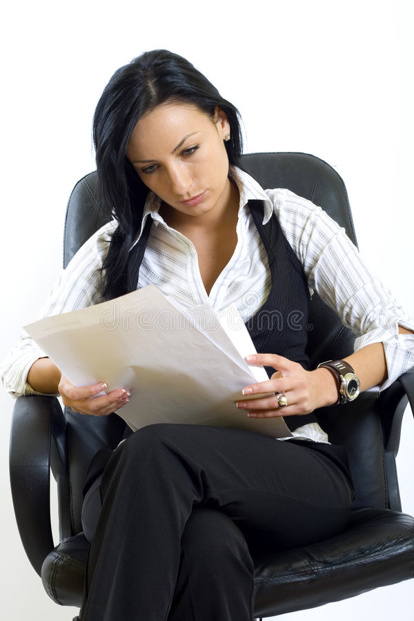 Download Attractive Businesswoman Holding Papers Stock Photo - Image: 8145736