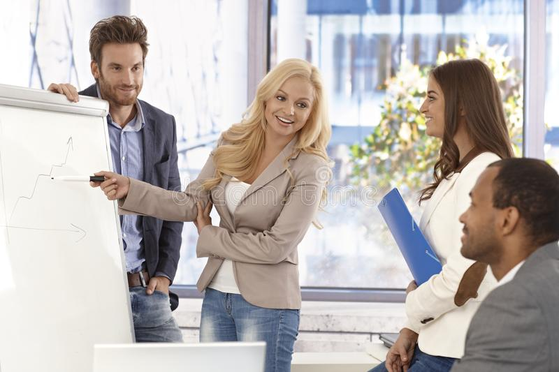 Attractive businesswoman presenting to colleagues stock photos