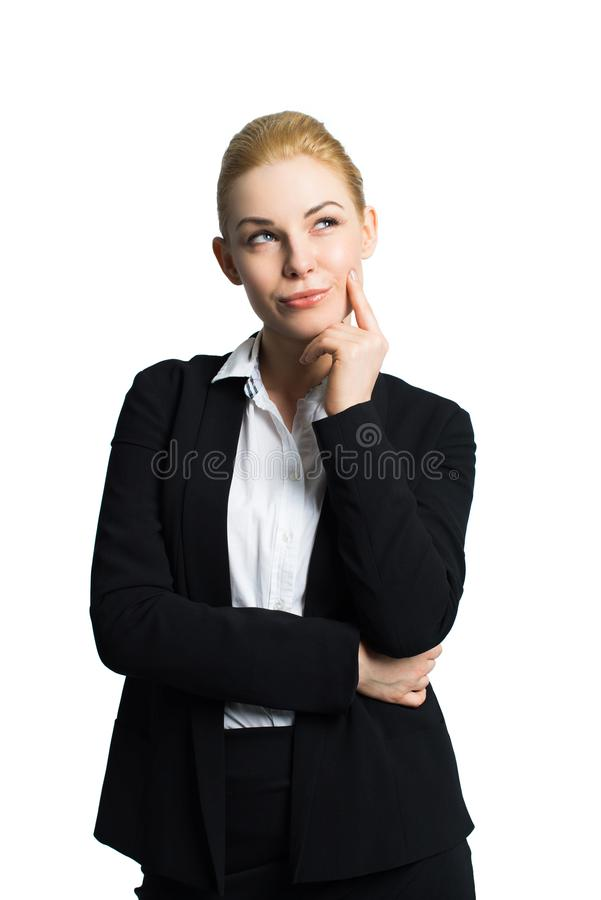 Attractive businesswoman thinking about a problem royalty free stock photography