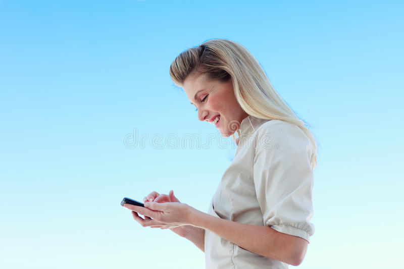Attractive Businesswoman Writing A Message Stock Photos