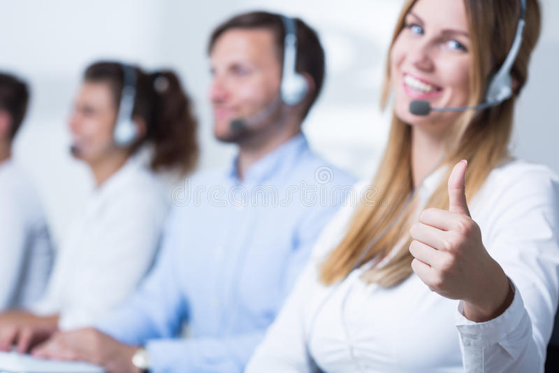 Attractive call center operator royalty free stock photography