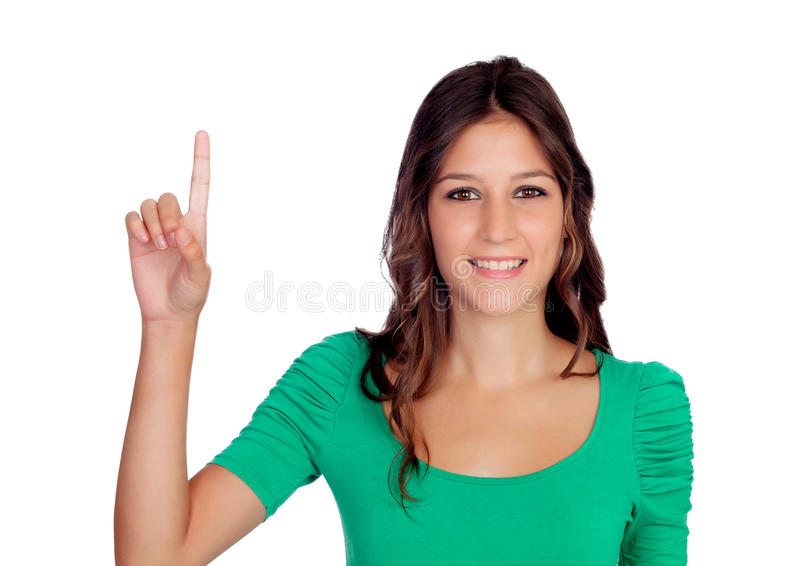 Attractive casual girl in green asking to speak stock photography