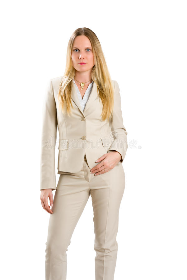 Attractive Caucasian woman in business suit isolated on white stock images