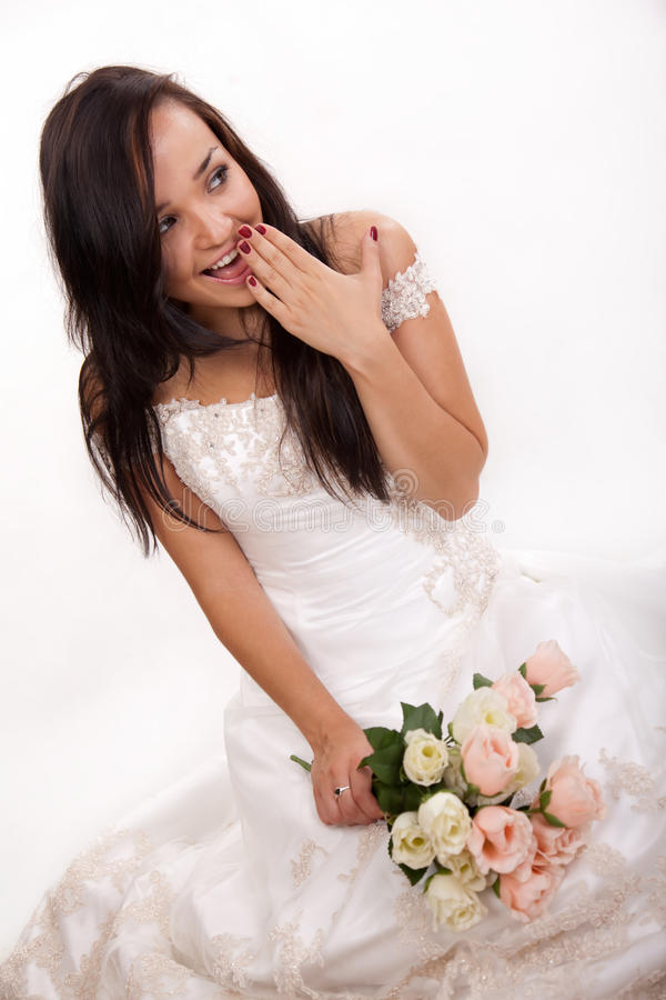 Attractive Caucasian Woman Wearing Bridal Dress Royalty Free Stock Photography