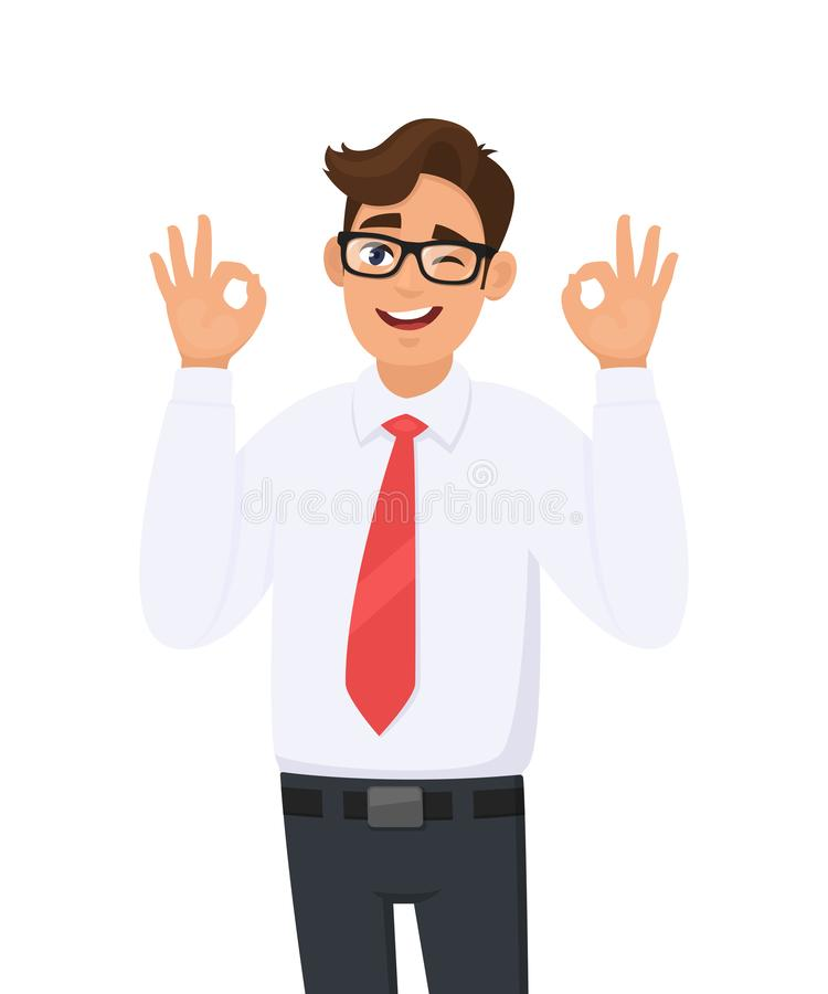 Attractive cheerful young business man showing/gesturing/making okay or ok sign, while winking eye. Human emotions, facial. stock illustration