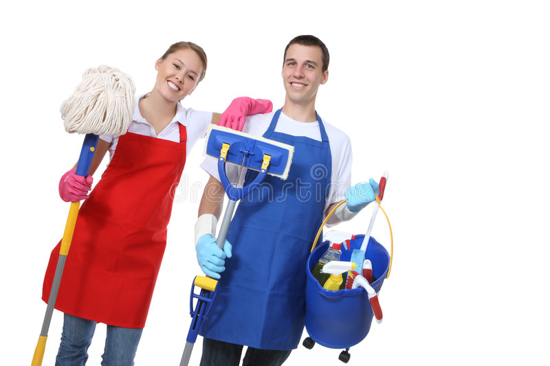 Download Attractive Cleaning Man And Woman Stock Image - Image: 7436469