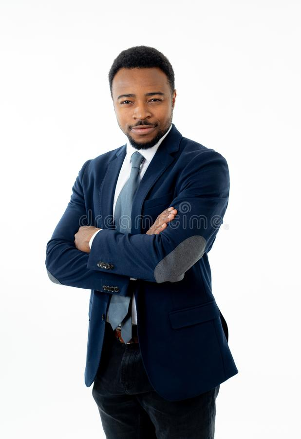 Attractive confident happy and successful CEO business man corporate executive isolated in white royalty free stock images