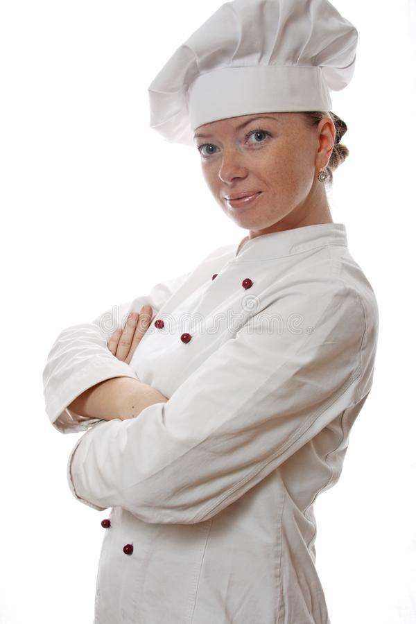 Attractive cook woman. A over white background stock image