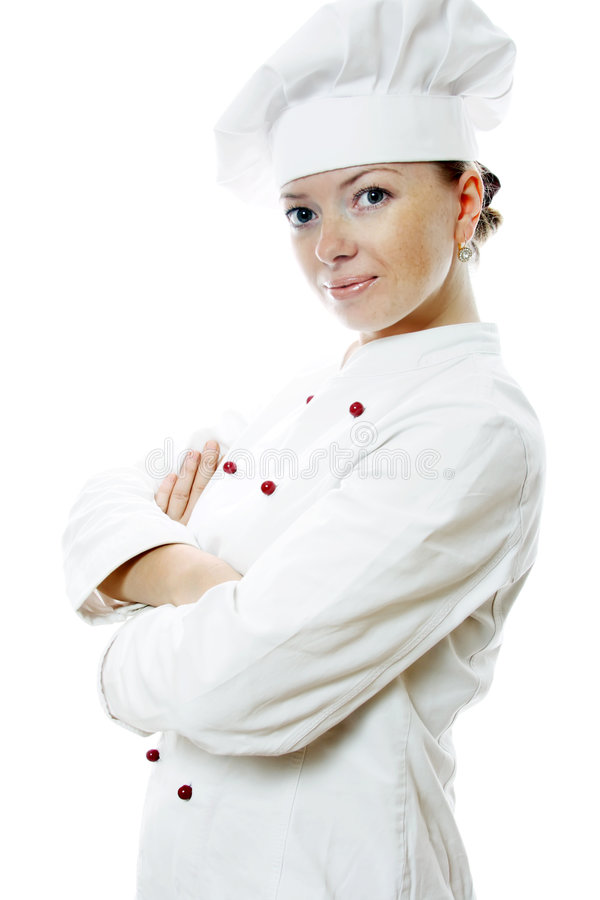 Attractive cook woman. A over white background royalty free stock image