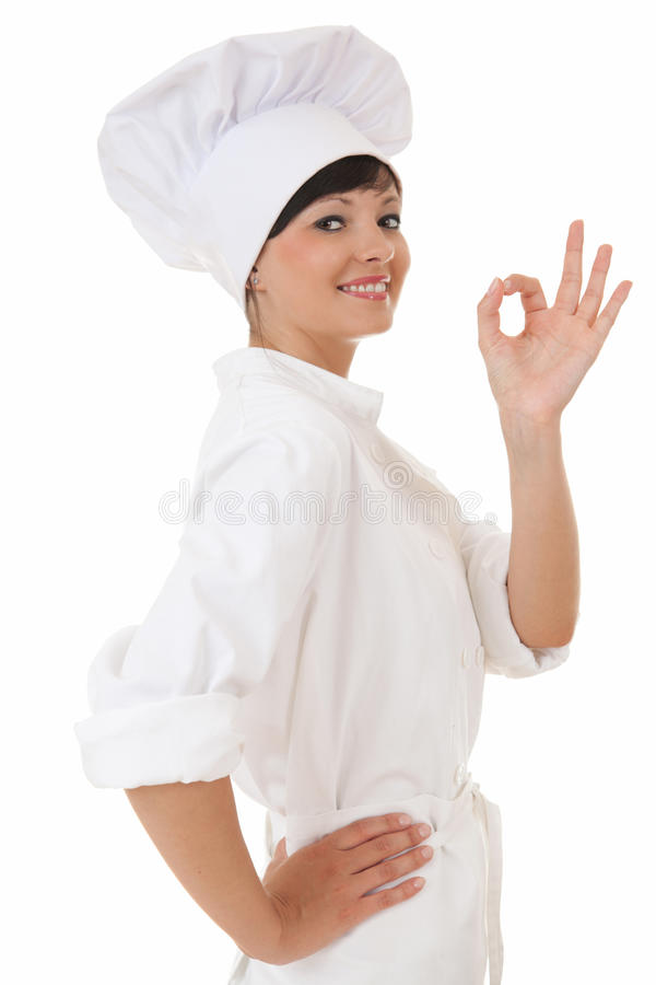 Download Attractive Cook Woman Showing Ok Sign Stock Photos - Image: 25582063