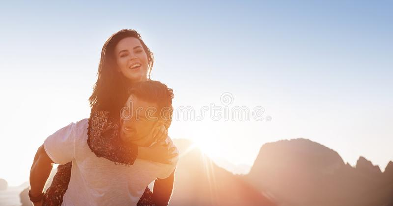Attractive couple relaxing on a tropical island stock photography