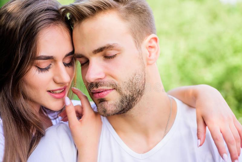 Attractive couple. Sexual attraction. Relaxing with darling. Lovers cuddling. Couple in love. Trust and intimacy royalty free stock photography