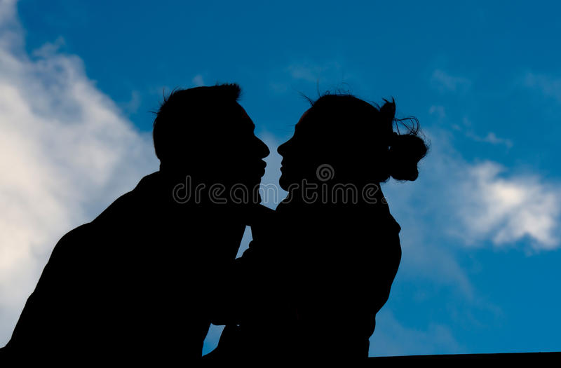 Download Attractive Couple In Silhouette Holding A Love Heart Stock Image - Image: 37215471