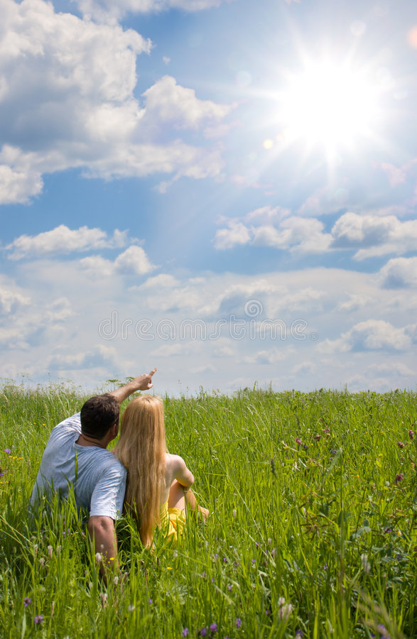 Download Attractive Couple Together On Meadow Stock Image - Image: 6091313