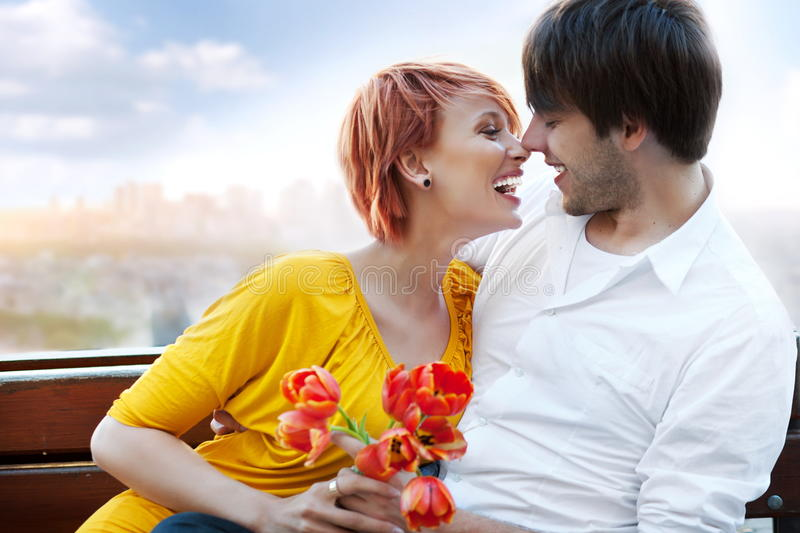 attractive couple together outdoors stock images