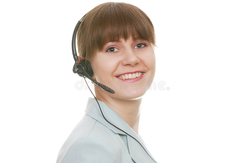 Attractive Customer Support Representative. With smile isolated on white background royalty free stock images